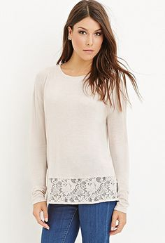 Lace-Paneled Hem Top | Forever 21 - 2000156084  color: Taupe. Indigo  cost: $19.90 @