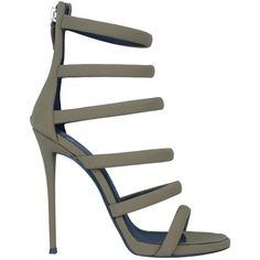 Giuseppe Zanotti Suede sandals ($976) ❤ liked on Polyvore featuring shoes, sandals, heels, verde, suede leather shoes, heeled sandals, leather sole shoes, summer sandals and high heeled footwear