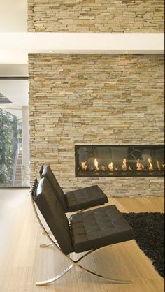 Love the stone and ventless fireplace