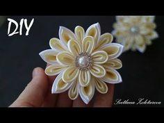 Белый цветок КАНЗАШИ на Заколке Мастер класс DIY White flower KANZASHI - YouTube