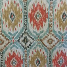 Poncho Geyser Blue Ikat Drapery Fabric by P Kaufmann - - Fabric By The Yard At Discount Prices Discount Fabric Online, Buy Fabric Online, Fabric Design, Pattern Design, Drapery Fabric, Fashion Fabric, Textile Prints, Ikat, Bohemian Rug