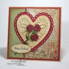 ODBDSLC208 Color Birthday with ODBD Stamps  Stamps -   Our Daily Bread Designs Rose, Rose Bouquet, ODBD Custom Ornate Hearts Dies, ODBD Custom Beautiful Borders Dies, ODBD Blushing Rose Paper Collection