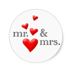Mr and Mrs Hearts Wedding Envelope Sticker sets