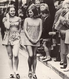 Two girls walking down the street in Cape Town in 1965