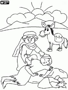 Scene From The Parable Of Good Samaritan Coloring Page