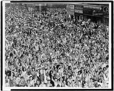 Crowd of people, many waving, in Times Square on V-J Day at time of announcement of the Japanese surrender in 1945 / World-Telegram photo by Dick DeMarsico. Date 14 August 1945 New York Street, New York City, Victory Over Japan Day, Peace At Last, Times Square New York, History Online, World War Ii, The Book, New York