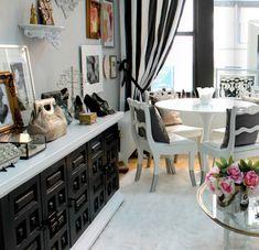 modern chic office living room black white credenza