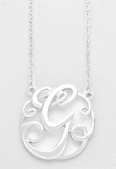 monogram initial necklace 15 letter g pendant silver chain