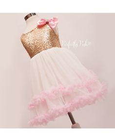 Girls gold Dress Flower Girl Dress Gold Tulle by PerfectlyPoshCo