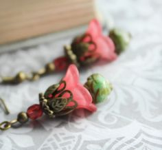 Coral Red Earrings, Lucite Flower Jewelry, Floral Accessories, Green Glass, Rosebud Bead, Petunia Flower, Nickel Free