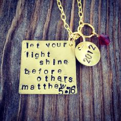 Be The Light  Metal Stamped Necklace by savinggrace28 on Etsy, $15.00