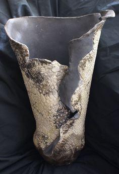Raku vase w black matte front view  Lulu Pottery/ Tracy Gurdian