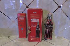Set of 2 Coca Cola Ink Pens in Coke Tins & 1 Larger Locker Tin w/Wrist Watch NEW #CocaCola