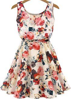 Sleeveless High Waist Florals Print Dress