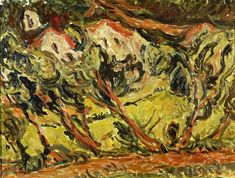 Ceret Landscape 1 By Chaim Soutine Canvas, Paper Print, and Oil Painting Reproduction with Free 3 Day Worldwide Shipping. Chaim Soutine, Oil On Canvas, Canvas Art, Expressionist Artists, Art Database, Oil Painting Reproductions, Landscape Paintings, Oil Paintings, Art History