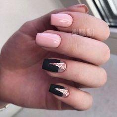 Black and pink nails, Fall nails 2017, Fall nails trends, Geometric nails, Glitter nails, Half-moon nails ideas, Moon nails 2017, Nails for September 1