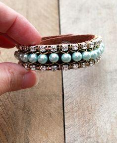 Rhinestone Bracelet Tutorial with Pearls & Leather