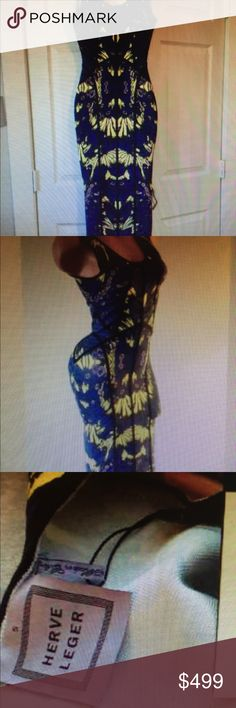Herve leger jacquard dress This jacquard Herve leger dress is beautiful. It has blue and yellow pattern. Show stopper! Herve Leger Dresses Midi