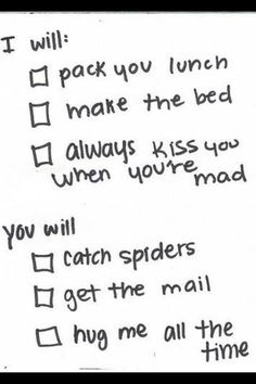 Cute checklist promises for engaged couples to come up with. This would be perfect, except I'm not afraid of bugs...