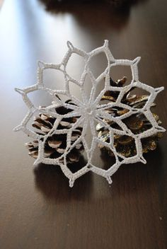 The price is for ONE SNOWFLAKE. This wonderful handmade crochet lace snowflakes measures approximately 9 cm or inch. Crochet Snowflake Pattern, Christmas Crochet Patterns, Crochet Christmas Ornaments, Crochet Motifs, Crochet Snowflakes, Thread Crochet, Crochet Crafts, Crochet Doilies, Crochet Flowers