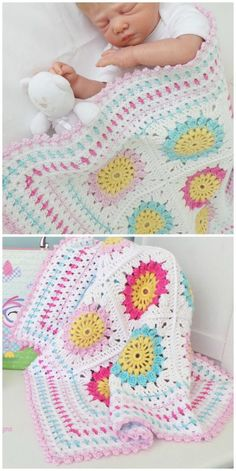 Baby Granny Square Blanket, Easy Granny Square, Flower Granny Square, Granny Squares, Crochet Baby Blanket Free Pattern, Crochet Flower Patterns, Knitting Patterns, Diy Crochet Crop Top, Crochet For Beginners
