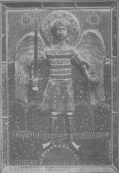 15. Könyvtábla részlete, Mihály arkangyal reliefalakjával. Fodor Zoltán: Szűrések, 2017. 64. oldal, 15. kép.