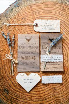 Rustic wedding invitation with lavender