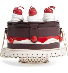 Leather Cake Bag with Cherries on Top! #bags #handbags #quirky