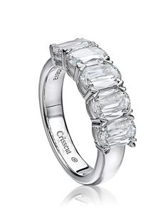 Five stone diamond engagement ring set in 18K white gold I Style: L130-5-250 I L'Amour Crisscut I http://knot.ly/6491BFhOW