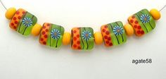 Fun With Spring Lime Murinni And Bright Dots Lampwork by agate58