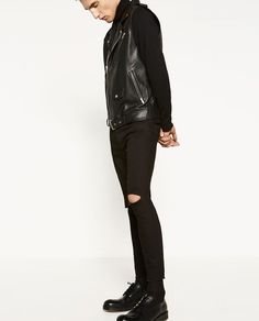 acbc491a RIPPED TROUSERS Zara, Trousers, Leather Pants, Gq, Fashion, Black Jeans,