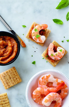 Savory Spicy Shrimp Satay Toppers are so delicious atop brown rice TRISCUIT Sea Salt & Black Pepper Crackers.