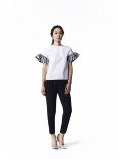BORDERS at BALCONY #2016SS #tops #blouse #cotton #white #bordersatbalcony #border