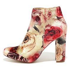 Rose Ceremony Beige Floral Velvet High Heel Booties ($37) ❤ liked on Polyvore featuring shoes, boots, ankle booties, beige, beige booties, zipper booties, beige boots, floral boots and zipper boots
