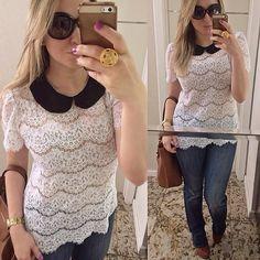 De hoje um caso de amor com essa blusa maravilhosa meninas. Fiquei com as duas cores #news #renda #rebeccafurtado #ootd #love #querotudo