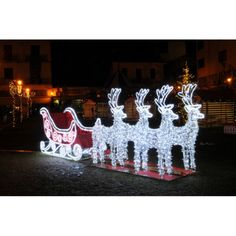 Commercial Size Reindeer and Sleigh Lighted Christmas Yard Art Decoration, White Hanging Christmas Lights, Christmas Yard Art, Christmas Yard Decorations, Holiday Lights, Christmas Diy, Christmas Light Installation, Reindeer And Sleigh, Christmas Figurines, Halloween