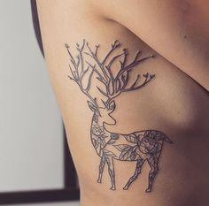 Floral deer by Vanessa at The Summit Tattoo in Vancouver, BC
