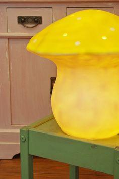 Bonbon shop in Tokyo, Japan. Yellow toadstool lamp.