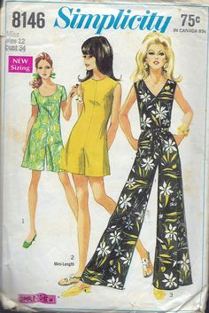 """Vintage 1969 Simplicity 8146 Mod Pantdress in Three Lengths With Three Necklines Sewing Pattern Size 12 Bust 34"""" by Recycledelic1 on Etsy"""