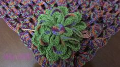 Dahlias verde Chal Crochet