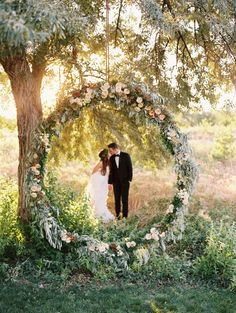 Oversized Floral Wreath Ceremony Backdrops