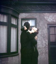 Dean Martin and Audrey Hepburn on the set of Sabrina (1954)