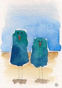 Original painting...folk art......by Lucia Stewart whimsical spring two blue birds.....