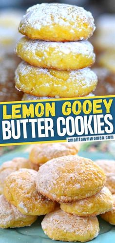 7 ingredients are all you need for these Lemon Gooey Butter Cookies! This recipe is quick and easy to come together, thanks to a cake mix. Make a whole batch of this delicious, melt-in-your-mouth dessert and enjoy warm with a hot cup of tea! You can't stop at just one! Lemon Dessert Recipes, Cake Mix Recipes, Easy Cookie Recipes, Lemon Recipes, Easy Desserts, Baking Recipes, Delicious Desserts, Scone Recipes, Baking Desserts