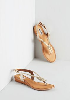 Catch My Eye Sandal in White Gold. Just one glance and before you knew it, you fell head over heels for these sparkling sandals! #gold #bride #modcloth