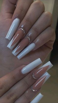 French Tip Acrylic Nails, Acrylic Nails Coffin Pink, Long Square Acrylic Nails, Simple Acrylic Nails, Coffin Shape Nails, Summer Acrylic Nails, Long Square Nails, Acrylic Nail Tips, Coffin Nails Long