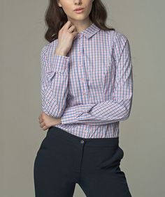 Another great find on #zulily! Rose Plaid Button-Up #zulilyfinds
