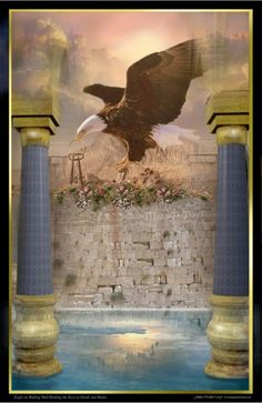 Eagle of Heaven, Created May 8, 2009:  Sitting atop the blood-stained Wailing Wall, this majestic Eagle holds the keys of Death and Hades in His beak. Mt. Sinai is in the distance and the heavens are below, enforcing the finished work of the cross. This Eagle loves to eat snakes! The resounding sounds of the keys within His beak are a reminder to all rebels of the judgment that awaits them. ~Psalm 2:10-12 ~ Prophetic Art of James Nesbit