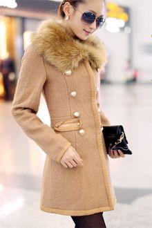 Winter Fashion Fur Collar Woolen Coat