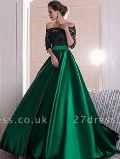 Graceful Lace Prom Dress, Green Satin Long Prom Dress, Off-the-shoulder A-line Evening Dress With Pleats · Friday Dresses · Online Store Powered by Storenvy Prom Dresses Long With Sleeves, Black Prom Dresses, A Line Prom Dresses, Lace Dress Black, Satin Dresses, Formal Dresses, Dress Long, Party Dresses, Black And Green Dress